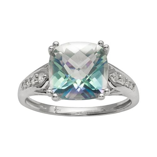 10k White Gold 1/10-ct. T.W. Diamond & Cassiopeia Topaz Ring