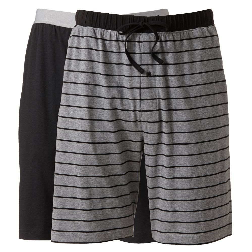 Big & Tall Hanes® 2-pack Striped and Solid Knit Sleep Sleep Shorts