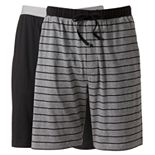 Big & Tall Hanes 2-pack Striped and Solid Knit Sleep Sleep Shorts