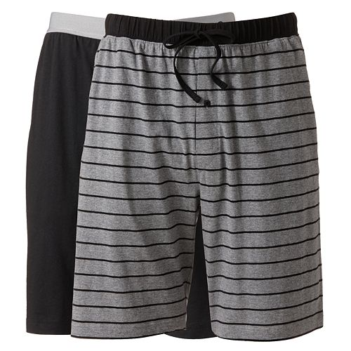 Big & Tall Hanes 2-pack Striped and Solid Knit Lounge Shorts
