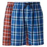 Big & Tall Hanes® Classics 2-pack Plaid Woven Jams Sleep Shorts