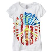 SO Tie-Dye Peace Sign Flag Tee - Girls Plus