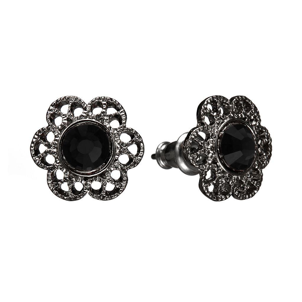 1928 Simulated Crystal Filigree Flower Stud Earrings