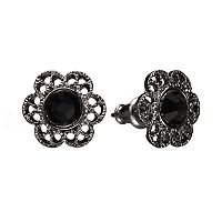 1928 Simulated Crystal Filigree Flower Stud Earrings