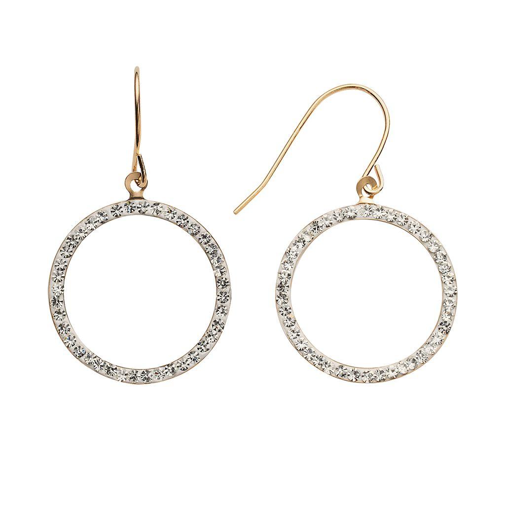 14k Gold-Bonded Sterling Silver Crystal Hoop Drop Earrings