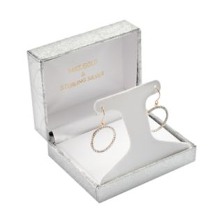14k Gold-Bonded Sterling Silver Crystal Hoop Drop Earrings