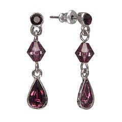 1928 Simulated Crystal & Bead Drop Earrings