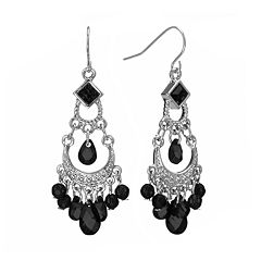 1928 Silver Tone Bead Chandelier Earrings