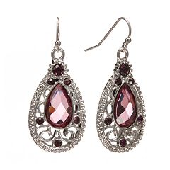 1928 Simulated Crystal Filigree Teardrop Earrings