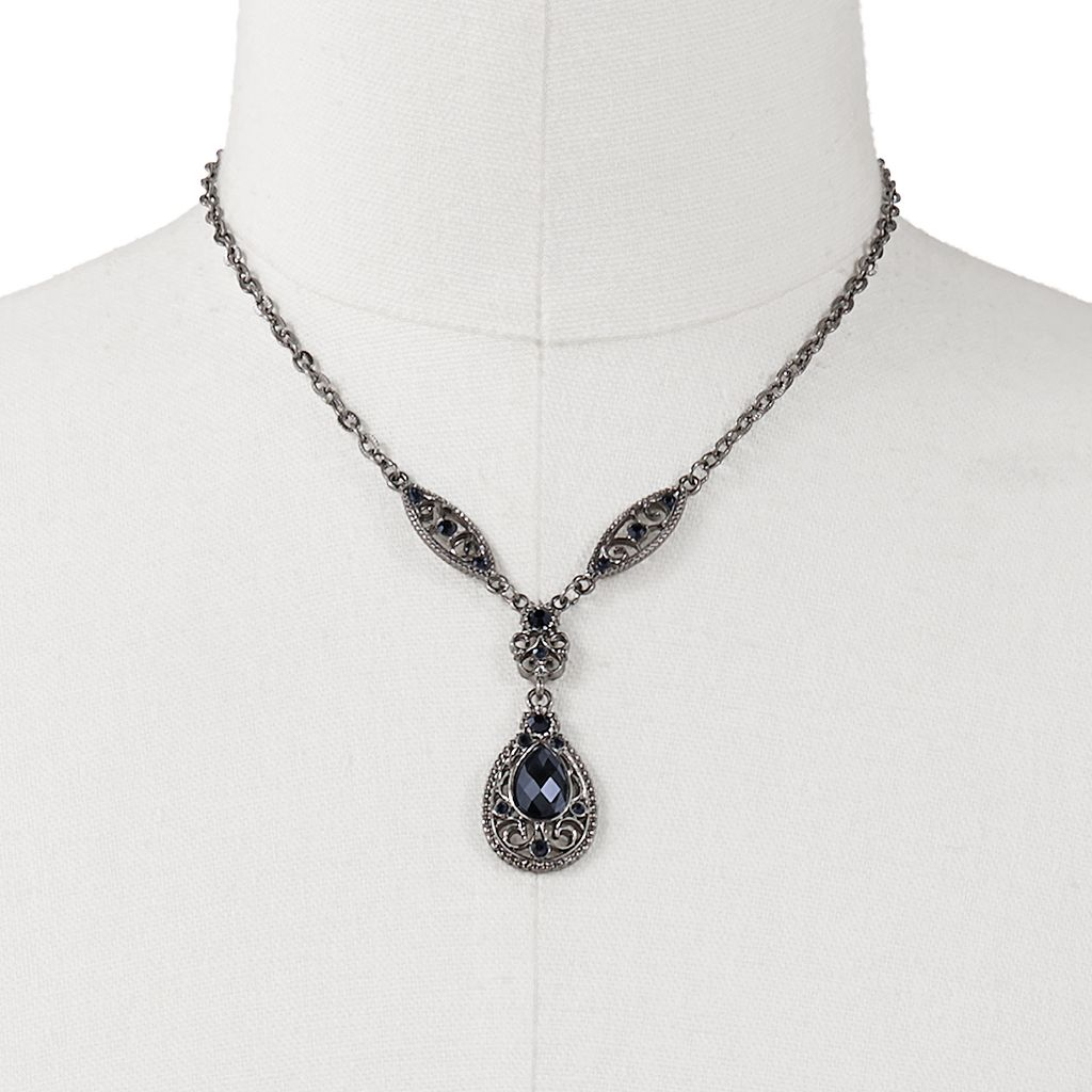 1928 Filigree Teardrop Y Necklace