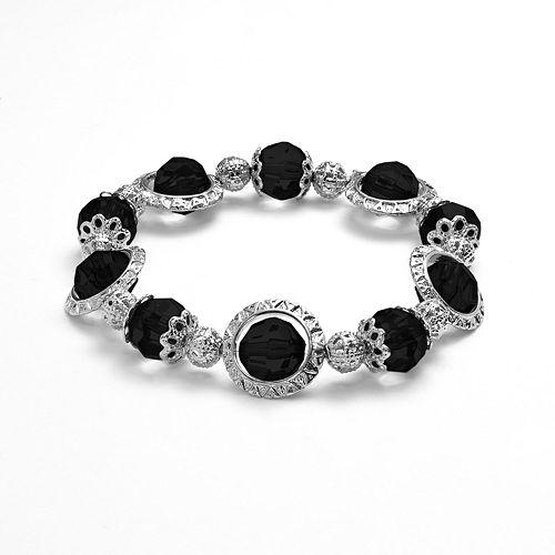 1928 Orbital Faceted Bead Stretch Bracelet