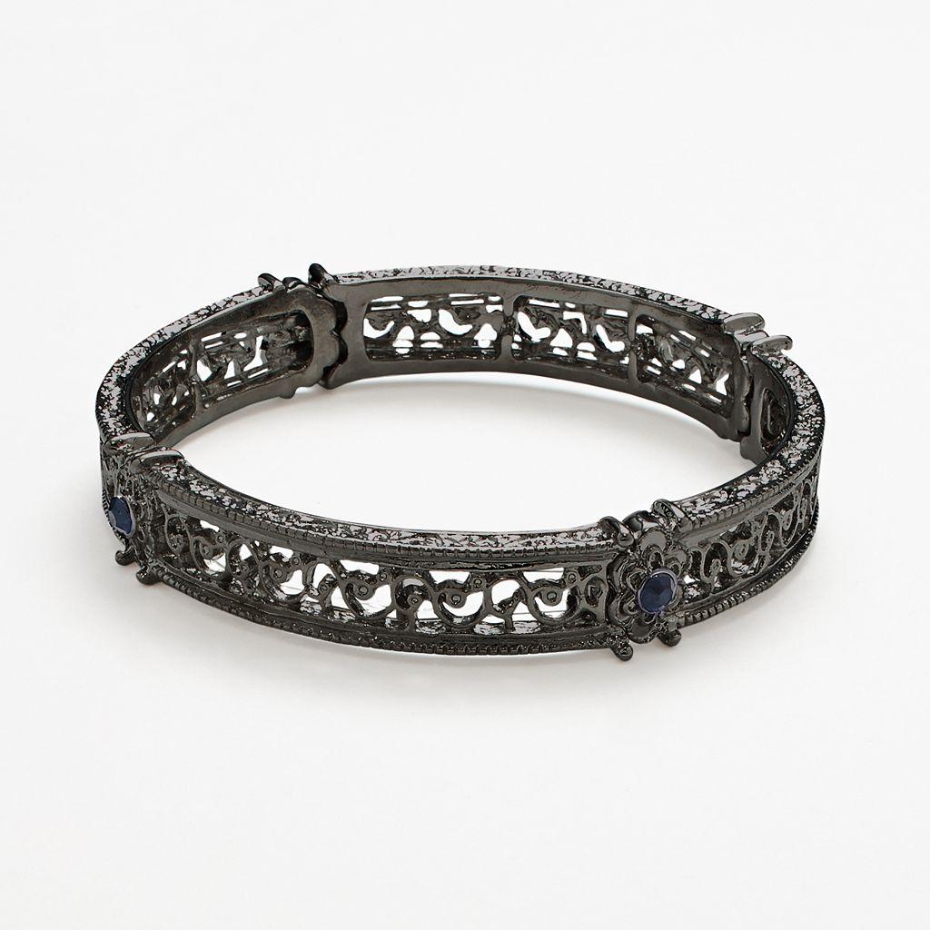 1928 Simulated Crystal Scroll Stretch Bracelet