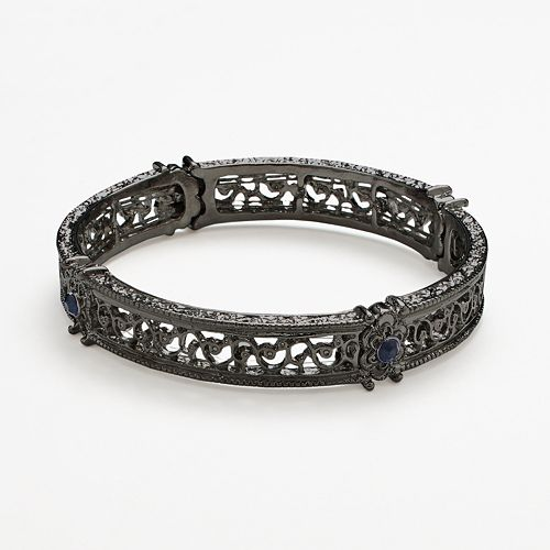 1928 Simulated Crystal Scroll Stretch Bracelet