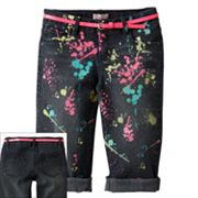 SO Glow-in-the-Dark Splatter Cuffed Denim Capris - Girls 7-16