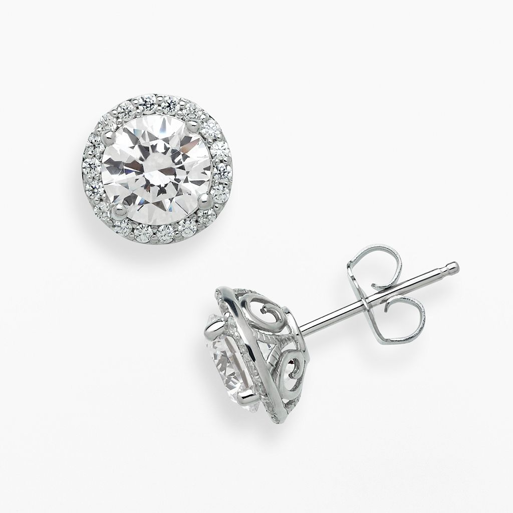 Emotions Sterling Silver Frame Stud Earrings - Made with Swarovski Zirconia