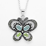 Silver Plate Marcasite and Glass Butterfly Pendant