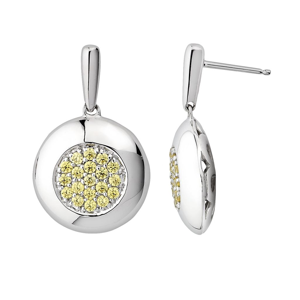 Lotopia Sterling Silver Disc Drop Earrings - Made with Swarovski Cubic Zirconia