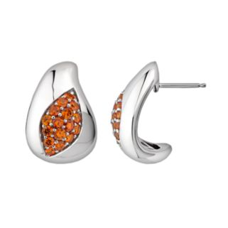 Lotopia Sterling Silver Marquise J-Hoop Earrings - Made with Swarovski Cubic Zirconia