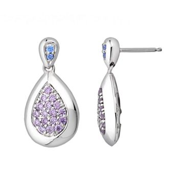 Lotopia Sterling Silver Teardrop Earrings - Made with Swarovski Cubic Zirconia