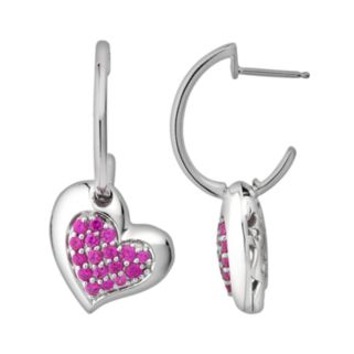 Lotopia Sterling Silver Tilted Heart Hoop Drop Earrings - Made with Swarovski Cubic Zirconia
