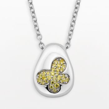 Lotopia Sterling Silver Butterfly Pendant - Made with Swarovski Cubic Zirconia