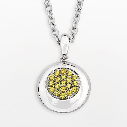 Lotopia Sterling Silver Disc Pendant - Made with Swarovski Cubic Zirconia
