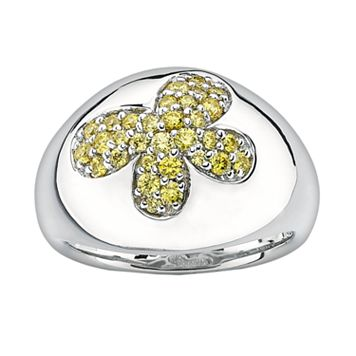 Lotopia Sterling Silver Butterfly Ring - Made with Swarovski Cubic Zirconia
