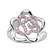 Lotopia Sterling Silver Openwork Flower Ring - Made with Swarovski Cubic Zirconia