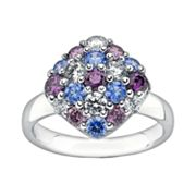 Lotopia Sterling Silver Square Cluster Ring - Made with Swarovski Cubic Zirconia