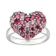 Lotopia Sterling Silver Heart Cluster Ring - Made with Swarovski Cubic Zirconia