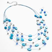 Croft and Barrow Silver Tone Bead Multistrand Necklace and Drop Earring Set