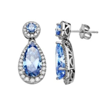 Emotions Sterling Silver Frame Drop Earrings - Made with Swarovski Cubic Zirconia