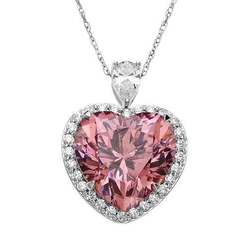 Emotions Sterling Silver Heart Frame Pendant - Made with Swarovski Zirconia