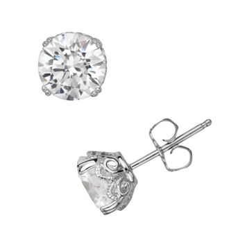 Emotions Sterling Silver Solitaire Earrings - Made with Swarovski Zirconia
