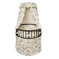 Badger Basket Round Bassinet - Toile
