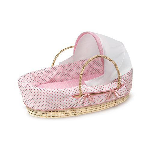 Badger Basket Natural Hooded Moses Basket - Dots