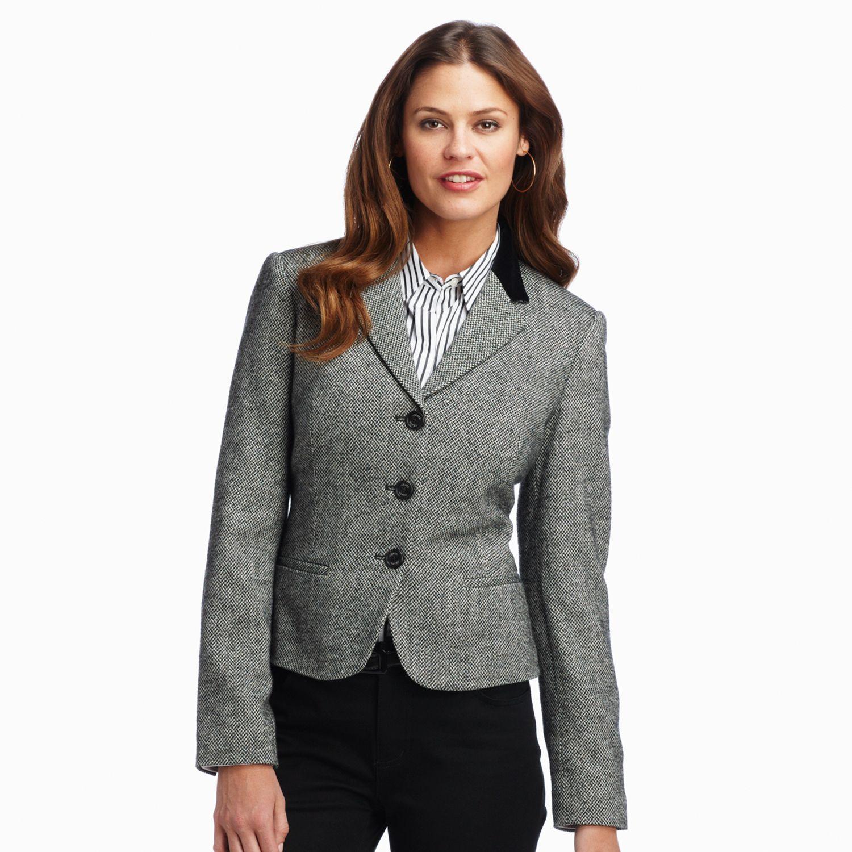 Chaps Peplum Wool Blend Jacket - Petite