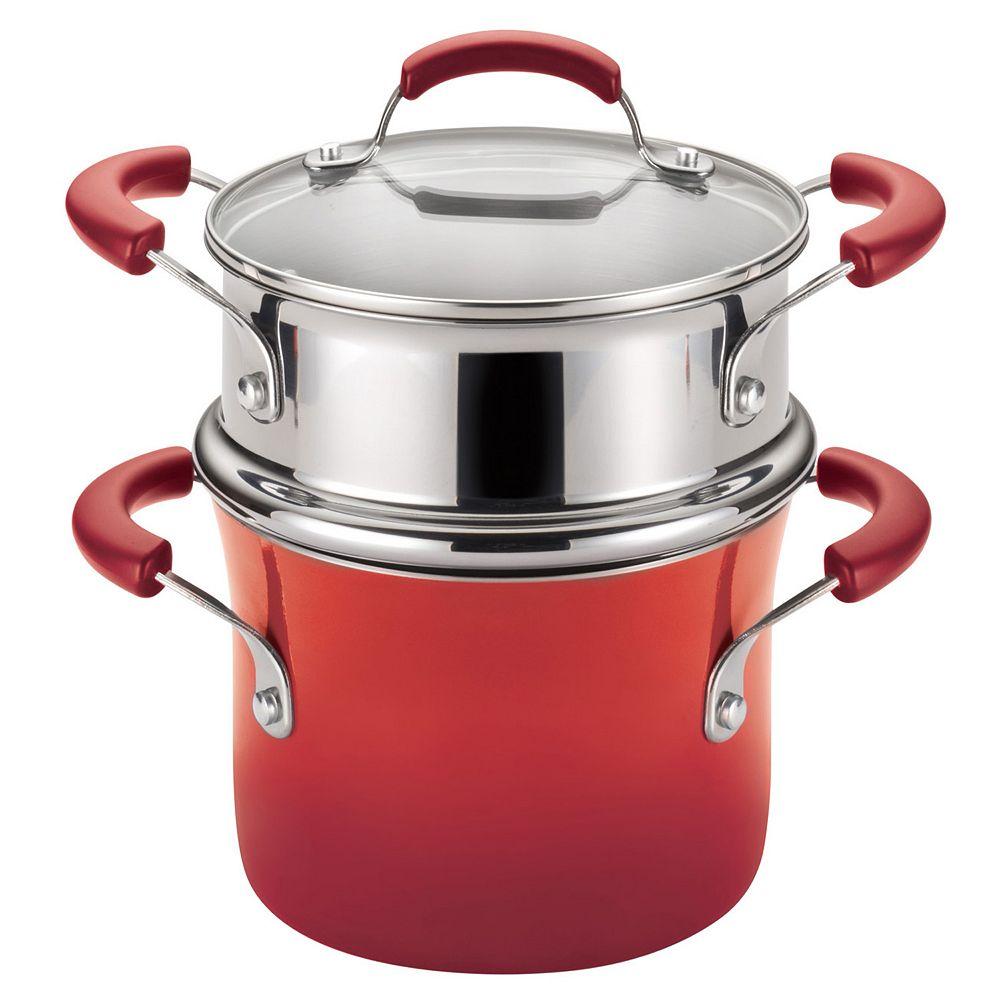 Rachael Ray® 3-qt. Nonstick Porcelain Enamel Covered Steamer Set