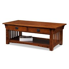 Leick Furniture 2-Drawer Medium Oak Finish Coffee Table