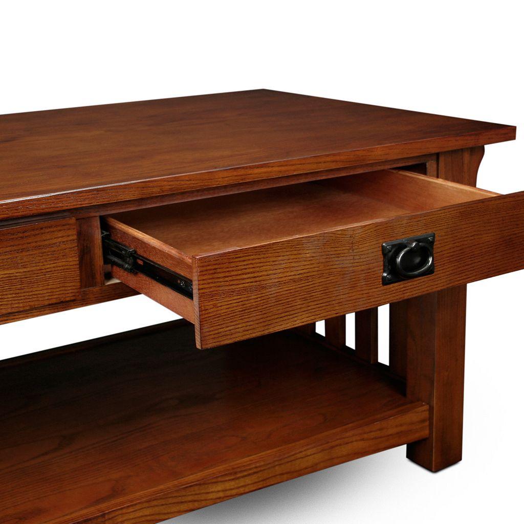 Leick Furniture 2-Drawer Medium Oak Finish Coffee Table