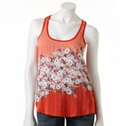 LC Lauren Conrad Floral Mixed-Media Tank