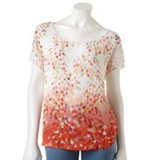 LC Lauren Conrad Floral Mixed-Media Top