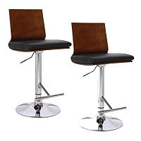 Leick Furniture Back Faux Leather Adjustable Swivel Stool 2-piece Set