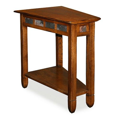 Leick Furniture Rustic Slate Finish Recliner Wedge End Table