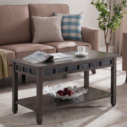Leick Furniture Rustic Slate Finish Coffee Table
