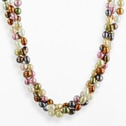 Sterling Silver Dyed Freshwater Cultured Pearl Multistrand Necklace