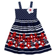 Youngland Floral Dot Striped Dress - Girls 4-6x