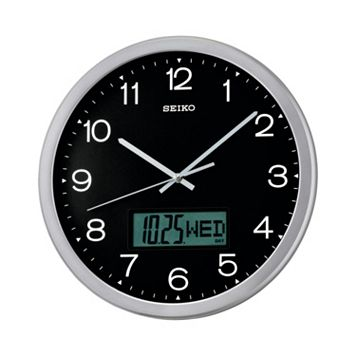 Seiko Crane Silver Tone Analog & Digital Wall Clock - QXL007ALH