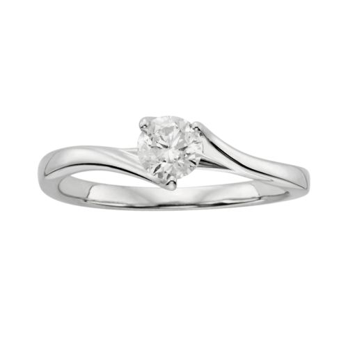 Round-Cut Diamond Solitaire Engagement Ring in 14k White Gold (1/3 ct. T.W.)