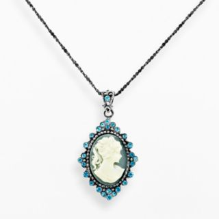 Sterling Silver Crystal Cameo Pendant